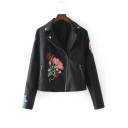 Notched Lapel Collar Long Sleeve Chic Floral Embroidered PU Biker Jacket