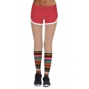 New Stylish Color Block Striped Printed Elastic Waist Sports Yoga Leggings
