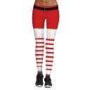 Stylish Digital Christmas Striped Printed Skinny Sports Yoga Leggings