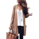 New Collection Basic Plain Long Sleeve Open Front Cardigan with Double Pockets