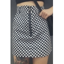 Fashion Black White Plaids Pattern Zip Up Street Style Mini A-Line Skirt