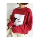 Retro Cartoon Letter Pattern Loose Leisure Round Neck Long Sleeve Sweatshirt
