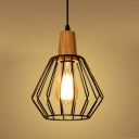 Vintage Mini Ceiling Light with Pentagon Metal Cage, Black
