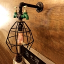Industrial Wall Light Retro Pipe Fixture E27 LED with Metal Cage Frame in Black