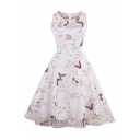 Fashion Butterfly Pattern Scoop Neck Sleeveless Mesh Inserted Midi Flared Dress