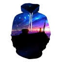 Chic Digital Galaxy Cat Pattern Long Sleeve Loose Casual Unisex Hoodie