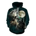 Digital Moon Wolf Pattern Casual Leisure Long Sleeve Unisex Hoodie with Pockets