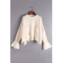 Round Neck Flared Long Sleeve High Low Hem Hollow Out Plain Sweater