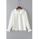 Basic Simple Plain Long Sleeve Peter-Pan Collar Chiffon Pullover Blouse