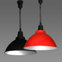 Industrial Pendant Light with Extendable Chain, Black/Red Finished
