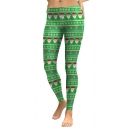 Fashion Christmas Santa Claus Pattern Elastic Waist Skinny Leggings
