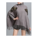New Arrival Turtle Neck Long Sleeve Fashion Tassel Hem Pullover Cape Sweater