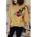 Color Block Floral Embroidered Round Neck Half Sleeve Tee in Loose Fit