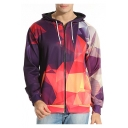 Digital Color Block Mirror Printed Long Sleeve Zip Up Hoodie