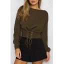Fashion Lace-Up Gathered Waist Boat Neck Long Sleeve Plain Sweater