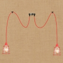 Industrial Multi Light Pendant Light 2 Light Adjustable with Red Metal Cage Fram and Clear Glass Shade