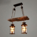 Industrial Multi Light Pendant Light 2 Light Wood Decoration with Clear Glass Shade