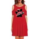 Hot Fashion Cartoon Printed Round Neck Cold Shoulder Short Sleeve Midi T-Shirt Dress