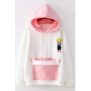 New Arrival Cartoon Girl Printed Fashion Color Block Long Sleeve Hoodie