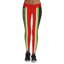 Hot Fashion Elastic Waist Color Block Striped Print Yoga Leggings