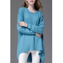 New Trendy Loose Oversize Simple Plain Round Neck Long Sleeve Dipped Hem Sweater