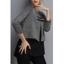 New Trendy Fake Two-Piece Round Neck Long Sleeve Comfort Casual Sweater