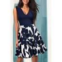 Fashion Color Block Floral Printed Plunge Neck Sleeveless Min A-Line Dress