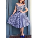 New Trendy Vintage Plaids Pattern V Neck Short Sleeve Midi Flared Dress