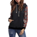 Hot Fashion Color Block Plaids Pattern Long Sleeve Casual Leisure Hoodie