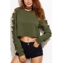 New Stylish Hollow Out Long Sleeve Round Neck Plain Cropped Sweatshirt