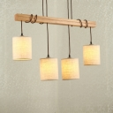Industrial 4 Light Wooden Multi Light Pendant with Fabric Shade
