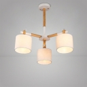 Industrial 3 Light Adjustable Chandelier with Fabric Shade
