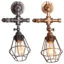 Industrial Wall Light Retro Vintage with Metal Cage Frame with Silver/Gold Pipe Fixture