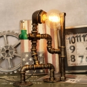 Industrial Pipe Desk Lamp with Robert Shape Base, Aged Bronze