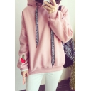 Fashion Letter Ribbons Long Sleeve Casual Loose Sports Hoodie