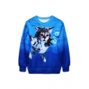 New Trendy Digital Cartoon Cat Printed Long Sleeve Round Neck Sweatshirt