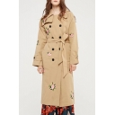 Floral Embroidered Notched Lapel Collar Long Sleeve Double Breasted Trench Coat