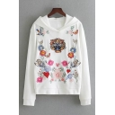 Tiger Head and Floral Embroidered Long Sleeve Hoodie