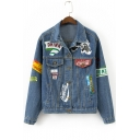 Color Block Graffiti Print Lapel Buttons Down Long Sleeve Denim Jacket