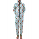 New Arrival Fashion Christmas Pattern Hooded Long Sleeve Sports Casual Jumpsuits