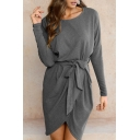 Round Neck Tie Front Asymmetric Hem Long Sleeve Short Dress