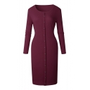 Hot Fashion Long Sleeve Round Neck Basic Plain Buttons Down Midi Knit Dress