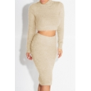 High Neck Long Sleeve Simple Plain Cropped Sweater with Midi Knit Pencil Skirt