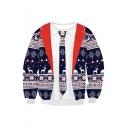 Hot Fashion Fake Two-Piece Christmas Theme Pattern Long Sleeve Sports Sweatshirt
