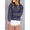 Hot Popular Fashion Lace-Up Long Sleeve Round Neck Plain Sweatshirt