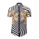 3D Fashion Digital Striped Printed Lapel Collar Short Sleeve Buttons Down Shirt