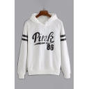 New Trendy Color Block Letter Print Long Sleeve Hoodie