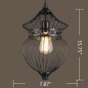 Industrial Wrought Iron Single Pendant Light 15 Inch High with Wire Cage Shade