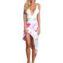 New Stylish Sleeveless Plunge V-Neck Floral Printed Asymmetric Cami Dress