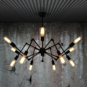 Atomic Style 12 Light LED Chandelier in Black